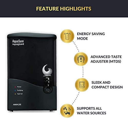 Eureka Forbes AquaSure from Aquaguard Amaze RO+UV+UF+MTDS 7 litres Water Purifier (Grey)