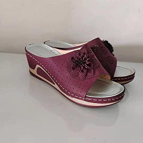 DZLXY Sandalias y Zapatillas Casuales de Damas con Costuras, Sandalias de baño de tazón de Limpieza,Rojo,43EU