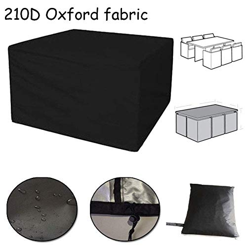 LCA Garden Furniture Covers Garden Rattan Furniture Covers Patio Set Anti-Fade Cube Dustproof Waterproof Table Chairs Outdoor Black, Multi Sizes (Color : Black, Size : 123x123x74cm)