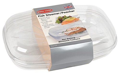 Easy Cook Polly Carbonate Microwave Fish Streamer/ Poacher includes Set of 1 Dish/ One Steam Tray/ One Lid/ Clear