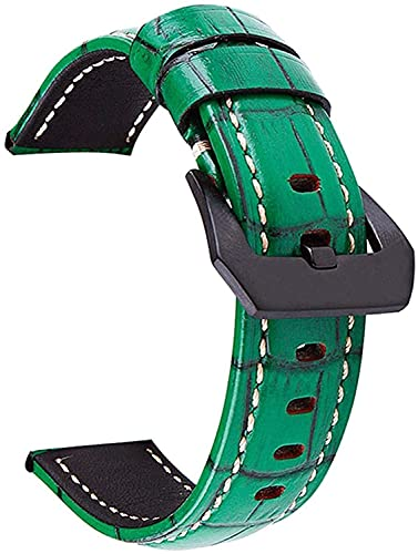 PINGZG Watchands 20mm / 22mm / 24mm / 26mm Reloj de Cuero Retro Reloj de Reloj de Reloj de reemplazo de Relojes de Reloj (Color : Green, Size : 24mm)