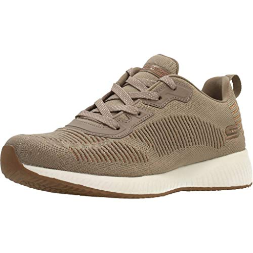 Skechers Womens Bobs Squad-Glam League Trainers, Beige (Taupe Engineered Knit/Rose Gold Trim Tpe), 3 UK (36 EU)