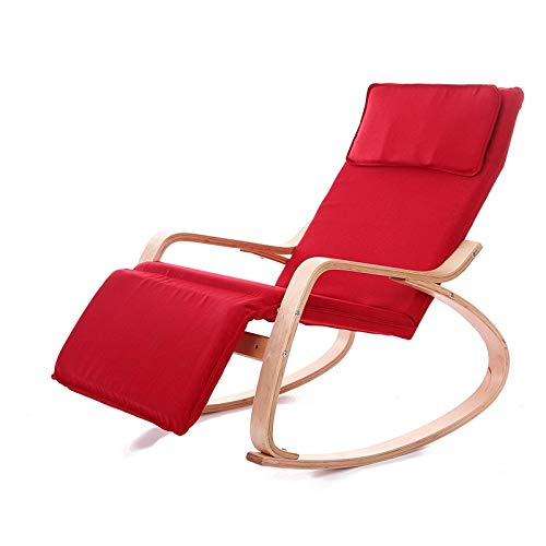 No brand Sofà Pigro Multifunzionale Xuxue Q1 in Legno curvato Sedia a Dondolo in Legno Massiccio di Betulla Folding Lounge Chair (Nero) (Color : Red)