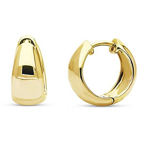 Ani's Pendientes pequeños con forma de cúpula para mujeres y niñas con plata de ley 925 chapada en oro amarillo de 14 quilates
