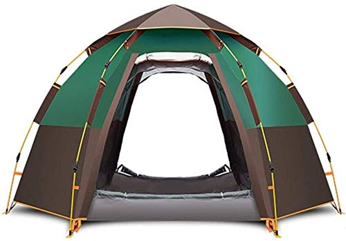LAZ 5-8 Person Camping Tent Backpacking Tents Hexagon Waterproof Dome Automatic Pop-Up Outdoor Sports Tent Camping Sun Shelters,One Room (Color : Green)