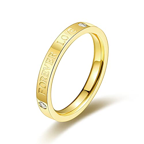 LOXUAKAM 18k Gold Plated 3mm Forever Love Ring Stacking Band for Women Jewelry Minimalist Statement Ring