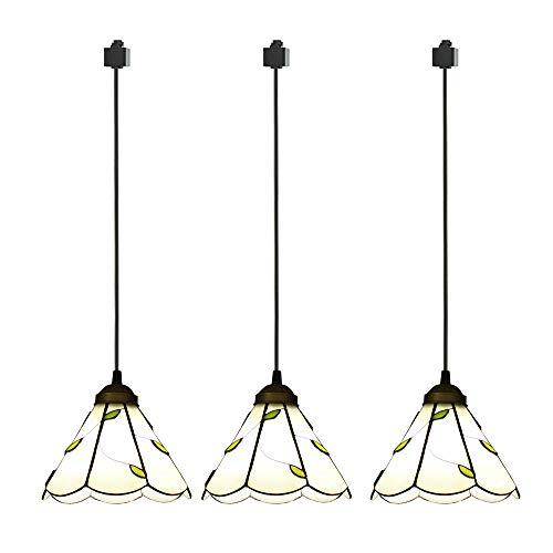 ANYE 3-Pack H-Type Track Light Pendants Tiffany Retro Lighting Nordic Retro Art Handmade Glass Shade Lighting Chandelier Bulb Not Included GD-TB0297x3P-150