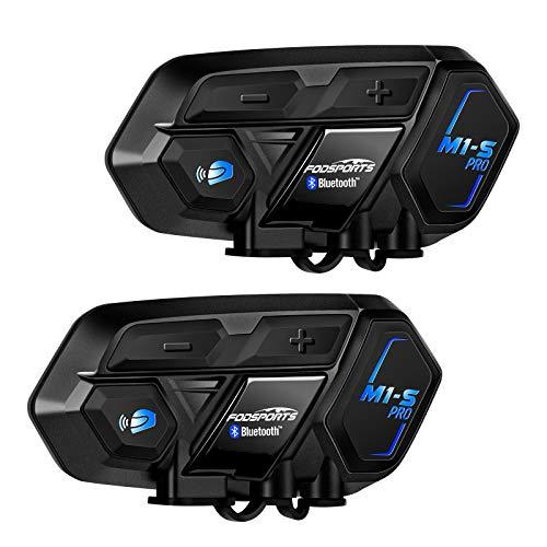 FODSPORTS M1S Pro Intercomunicador Casco Moto Doble con CVC Reducción De Ruido,Hi-Fi,Intercomunicador 8 Jinetes,Manos Libres Bluetooth Auricular,Comando De Voz,La Guía De Voz De GPS,900mAh