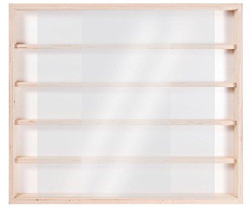 Alsino V32 petite vitrine étagère murale de collections, petits objets, miniatures et mini figurines   en bois de bouleau massif   multi-usage : décor, salon, chambre   5 étagères   2 vitres coulissantes en altuglas   dimensions : 60 x 52 x 6 cm