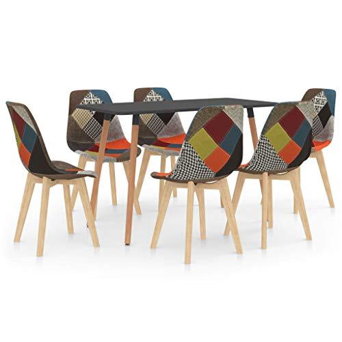 vidaXL Juego de Comedor 7 Piezas Muebles Mobiliario Hogar Cocina Terraza Exterior Silla Mesa Asiento Suave Decoración Moderno con Respaldo Multicolor