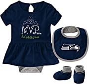 Officially Licensed Product Screen Printed Team Graphics Material: 100% Cotton - Care: Machine washable Tagless Collar - 3 Snaps at Bottom of Bodysuit Fits: Newborn Infants 0-3 Months - 24 Months