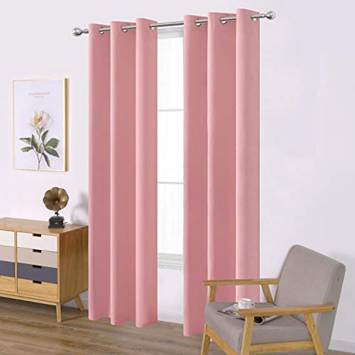 LEMOMO Pink Blackout Curtains/42 x 84 Inch/Set of Two Panels Grommet Bedroom Curtains