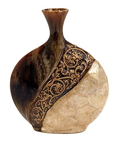 Deco 79 64735 Ceramic/Capes Shell Vase, 14'H x 11'W , Brown