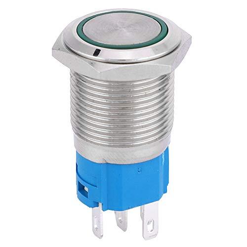 1NO 1NC Prensa, Tipo de interruptor Acero Inoxidable Auto-Reset Material de Acero para Modificación de Coche (Verde)