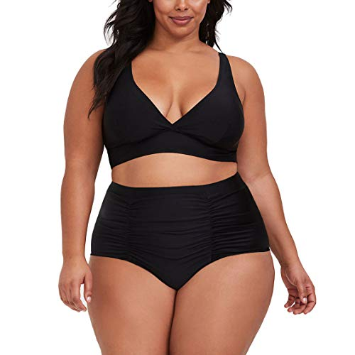 Kisscynest Women's Plus Size High Waist Ruched Swimsuit Swimwear Bathing Suit Black XL