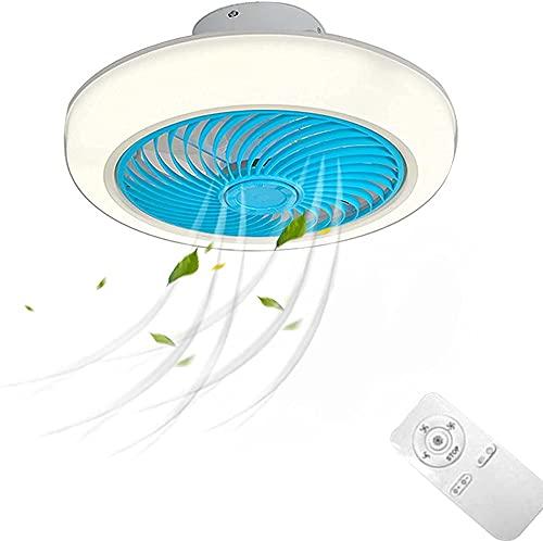 Ventilador de techo silencioso con luces Iluminación LED Modern Simplicity Ventilador de techo Lámpara de velocidad ajustable con interruptor de control remoto de 2.4G para sala de estar de niños Dor