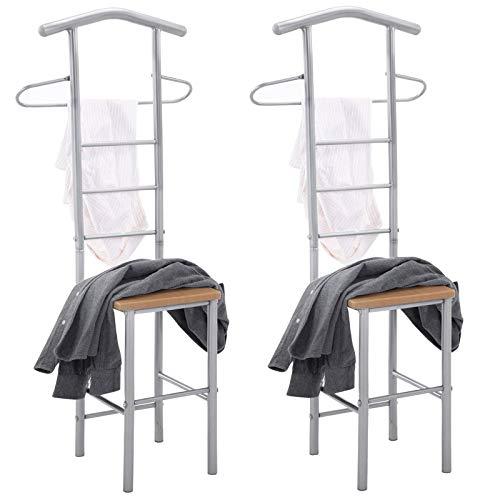 CARO-Möbel Herrendiener 2er-Set JIVO Kleiderständer Garderobenständer, Metall und MDF in buchefarben
