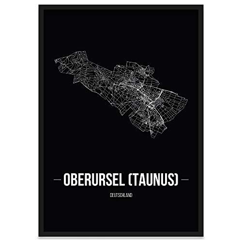 JUNIWORDS Stadtposter, Oberursel (Taunus), Wähle eine Größe, 21 x 30 cm, Poster mit Rahmen, Schrift B, Schwarz