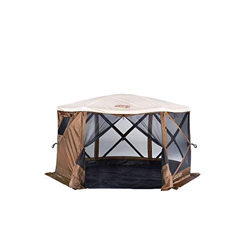 Quick-Set Clam Pavilion Outdoor Screened Gazebo Canopy Tent Rain Fly Tarp, Tan