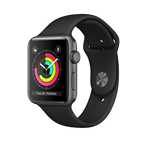 Apple Watch Series 3 (GPS), 42mm Space Gray Aluminum Case with Black Sport Band - MQL12LL/A...