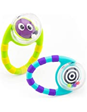 Sassy Flip & Grip Rattle | Value 2 Pack | Developmental Toy with Rattle Beads | Spinning Discs with Mirror | For Ages 3 Months and Up