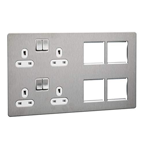 Schneider Electric GU34204DMPWSS platte plaat, geschakeld stopcontact, 2 x 2P + E met rolluiken, wit