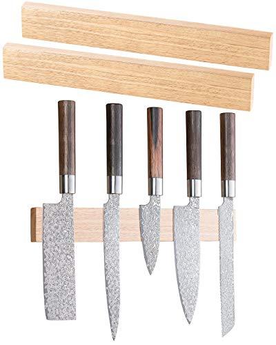 Rosenstein & Söhne Magnet Messerblock: 2er-Set durchgehende Magnet-Messerleisten, echtes Eichen-Holz, 36 cm (Messerblock-Wandleiste)