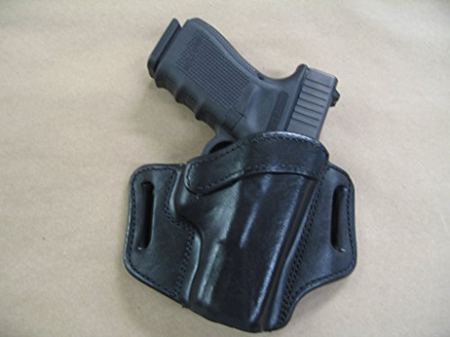 Azula OWB Leather 2 Slot Molded Pancake Belt Holster for Glock 19, 19X, 45, 23, 32 Black RH