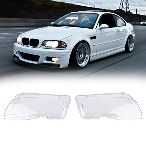 Klar rechts/links Auto Gehäuse Scheinwerferlinse Scheinwerfer LENSE Shell Cover Lampenbaugruppe für BMW E46 Coupe 2-türe 1999-2002 (Color : Left and Right)