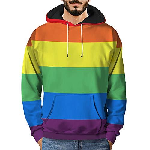 ITISME Herren PulloverMens 3D Printed Regenbogen Pullover Langarm-Kapuzen-Sweatshirt Tops Bluse