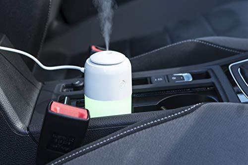 MKTOSASA - Mini Umidificatore con Illuminazione LED Multicolore, 7 Colori. Diffusore di Aromi da 200ml. Vapore in 2 Posizioni. Connessione USB e Cavo Incluso. Per Auto, Casa, Ufficio, Sport - 6x15x6