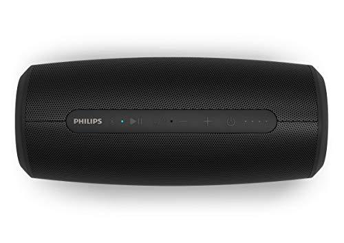 Philips S6305/00 Bluetooth-Lautsprecher mit Power Bank-Funktion (Bluetooth 5.0, Wasserfest, 20 Stunden Laufzeit, 2 passive Bassstrahler, USB, mehrfarbige LED-Leuchten), Schwarz - 2020/2021 Modell