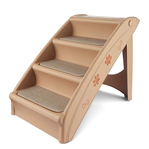 Flexzion Pet Stairs Folding Dog Cat Animal Step Ramp Ladder Foldable Plastic Portable for Tall Bed Indoor Outdoor Decor Supply...