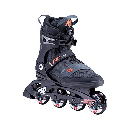 K2 Skates Herren F.I.T. 80 BOA Inline Skates, black-orange, 43.5 EU (9 UK)