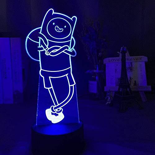 3D Illusie lamp Night Light Avontuur Tijd Finn De Menselijke Figuur voor Kidbedroom Decor Change Batterij Aangedreven Tafellamp -16_met_Afstandsbediening USB 7 Kleuren (Afstandsbediening)