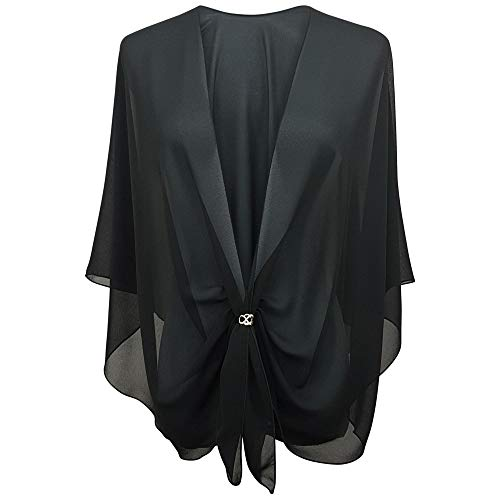 eXcaped Womens Evening Wrap Sheer Chiffon Cape and Silver Scarf Ring Set -Black