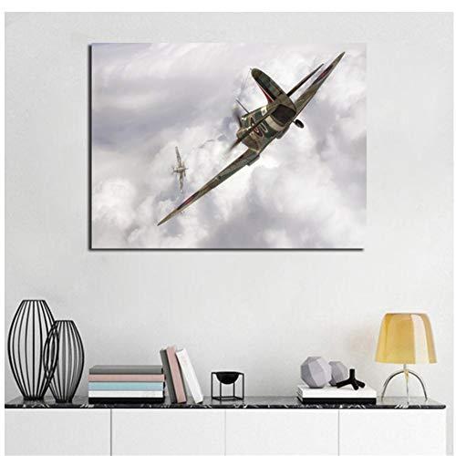 chtshjdtb Spitfire Flugzeug MinimalistischenWandkunstLeinwand Poster Und Druck Leinwand Malerei Dekorative Bild WohnzimmerWohnkulturKunstwerk-60x80 cm X 1 stücke Kein Rahmen