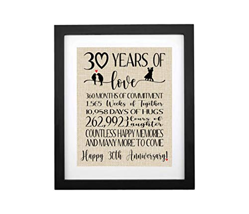 30 Years of Love Burlap Print with Frame, Gifts for Parents 30th...