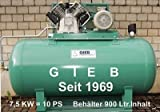 Kompressor 1.250/1000-11-lieg - 7,5 KW - Kessel 1000 ltr - 11 bar - Vierzylinder (M10)