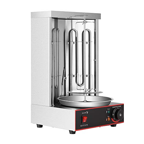 S SMAUTOP Electric Kebab Machine 360 ° Rotating Vertical Gyro Grill Turkish Barbecue Machine Stainless Steel Body Temperature Adjustment Switch, for Home Kitchen Commercial,2 Burners 50-300 °C, 3000W.