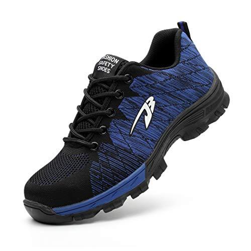 Zapatos de Seguridad Hombre Mujer Ligero Calzado de Trabajo Zapatillas con Punta Acero Industrial y Deportiva Transpirable Seguridad Cómodas Antideslizante Anti Aplastamiento Blue37