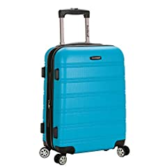 """22""""x13. 5""""x9"""" (with wheels) Lightweight yet extremely durable ABS material Multi-directional double spinner wheels Sturdy ergonomic aluminum telescoping handle Interior mesh zip pocket and elasticated pocket Fabric Type: 100% Abs"""