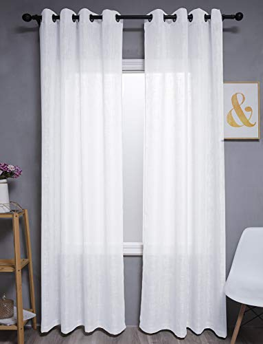 """Kinryb Linen Sheer Curtains 95 inches Long Pair Set Linen Textured White Sheer Curtains Metal Grommet Window Treatment Panels for Villa/Hall/Parlor, Open Weave - 52"""" W x 95"""" L"""