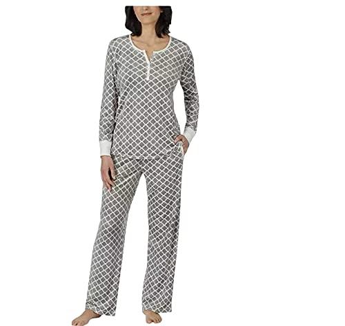 Nautica Womens 2 Piece Fleece Pajama Sleepwear Set (X-Large, Mixed Grey)