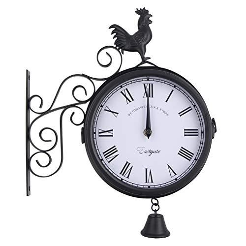 VOSAREA Reloj de pared de hierro forjado antiguo redondo para colgar en la pared, reloj de pared de doble cara, reloj retro para jardín, hotel, bar, hogar, recámara, sala de estar, decoración de pared, sin batería (negro)