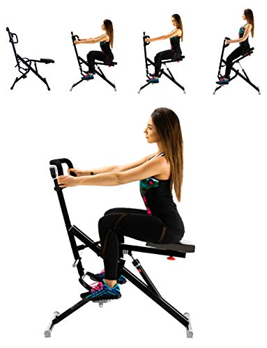 Power Rider Total Crunch Abdominal AB Core Fitness Upright Squat Glutes Exercise Home Gym Workout Machine Full Body Core Training Fitness System 12 Hydraulic Adjustable Levels Cardio Strength Training