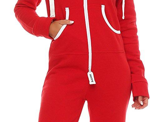 Hoppe Damen Jumpsuit Jogger Einteiler Jogging Anzug Trainingsanzug Overall (XL, Rot) - 5