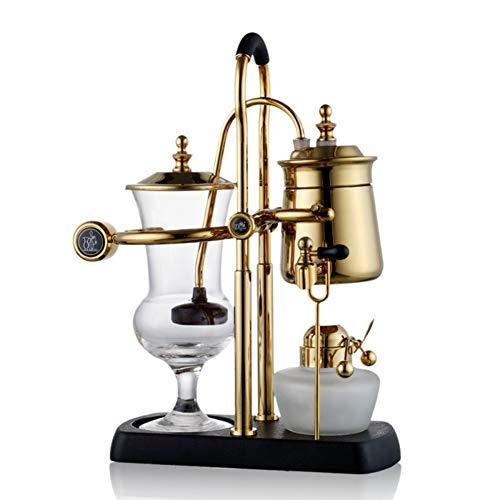 Siphon Kaffeekanne Belgischer Topf Kaffeekanne Alkohollampe Siphon Kaffeemaschine, bequem und leicht zu entfernen und leicht zu reinigen (Gold)