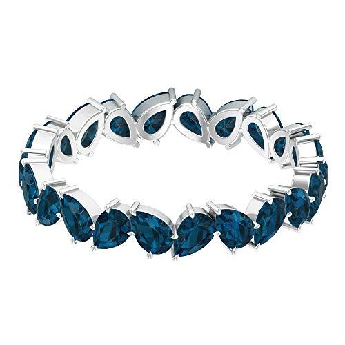 Anillo de piedras preciosas en zigzag, anillo de topacio azul de 3,3 quilates, anillo en forma de pera, anillo de boda delicado, anillo de aniversario, 14K Oro blanco, Size:EU 63