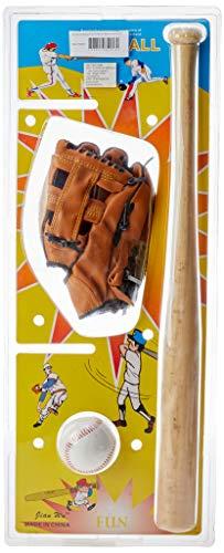 AX Esportes YW274-ME Kit Taco De Baseball em Madeira e Bola e Luva (YW274)